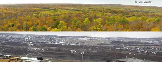 Top: The Penokee Hills, target of the 22-mile mountaintop removal open pit iron ore mine at the headwaters of the Bad River; Bottom: a mine in northern Minnesota showing the same area of devastation mining has caused there.