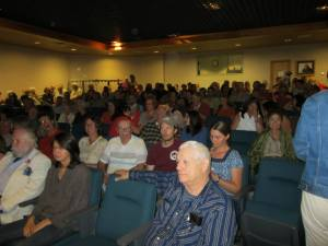 """Standing room only at the Northern Great Lakes Visitor Center for the screening of 371 Production's """"Wisconsin Mining Standoff."""" Photo: Bobbi Rongstad"""