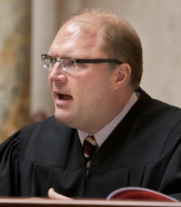 "Justice Michael Gableman has denied motions asking that he step aside from cases involving an attorney who represented him, calling these requests ""neither justified nor warranted."" Wisconsin Center for Investigative Journalism/Lukas Keapproth"