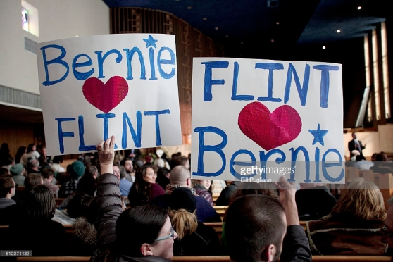 FLINT, MI - Supporters of Senator and Democratic Presidential Candidate Bernie Sanders (I-VT) wait for the candidate to arrive at a community forum on the water crises in Flint at Woodside Church February 25th, 2016 in Flint, Michigan. The next democratic primary is February 27th in South Carolina. (Photo by Bill Pugliano/Getty Images)