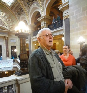 Jan. 26, 2012 Joe Rose at the WI State Capitol to testify against the mining bill. Photo: Rebecca Kemble