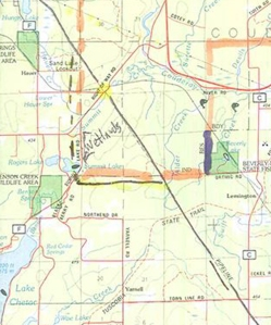 Lac Courte Oreilles Reservation is marked in orange boundary. The pipeline easement is the straight black line righting diagonal and cuts through LCO. The new easement for #61 and #13 runs down the reservation border outside the borders. The Enbridge pumping facility is about 1/4 mile north of where the original easement in black crosses right of way road (yellow). The tribe receives no money for the easement or facility on their property.
