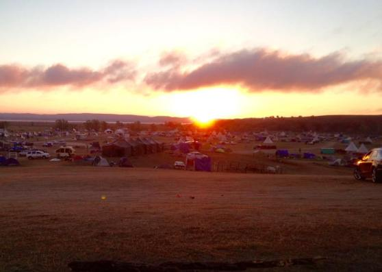 Sunrise at Sacred Stone Camp. Photo: Rebecca Kemble